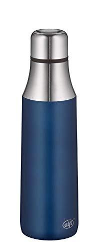 alfi Thermosflasche City Bottle blau 500ml, Edelstahl Trinkflasche 100% dicht auch bei Kohlensäure, 5527.259.050 Isolierflasche 12 Stunden heiß, 24 Stunden kalt, Wasserflasche BPA-Frei