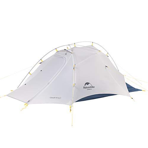 Naturehike Cloud-Flügel Ultraleichte Beruf Zelte Doppelten 2 Personen Zelt 3-4 Saison für Camping Wandern Zelt (15D Grau/Azurblau)