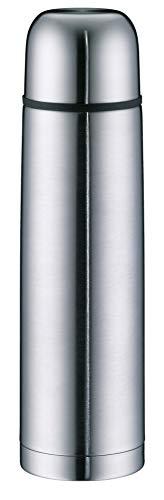 alfi Isolierflasche Edelstahl isoTherm Eco, Edelstahl mattiert 1L, Thermosflasche mit Trinkbecher 5457.205.100 dicht, spülmaschinenfest, Thermoskanne 12 Stunden heiß, 24 Stunden kalt, BPA-Free