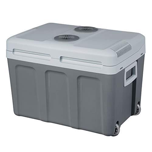 WOLTU KUE009dgr Kühlbox, Tragbarer Mini Kühlschrank, 40 Liter Isolierbox zum Warmhalten, Kühlen für Auto, Van, Fahrzeug, Boot mit Räder für Camping, Reisen, Angeln - DC 12V & AC 220V Grau