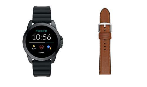 Fossil Herren Touchscreen Smartwatch 5E. Generation mit Lautsprecher, Herzfrequenz, GPS, NFC und Smartphone Benachrichtigungen + Fossil Watch Strap S221300