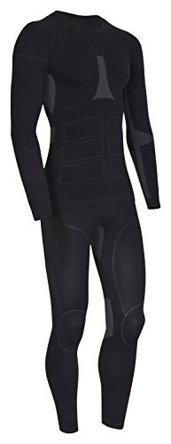 icefeld®: Sport- / Ski- Thermounterwäsche-Set für Herren Seamless (nahtfrei) in schwarz/grau S