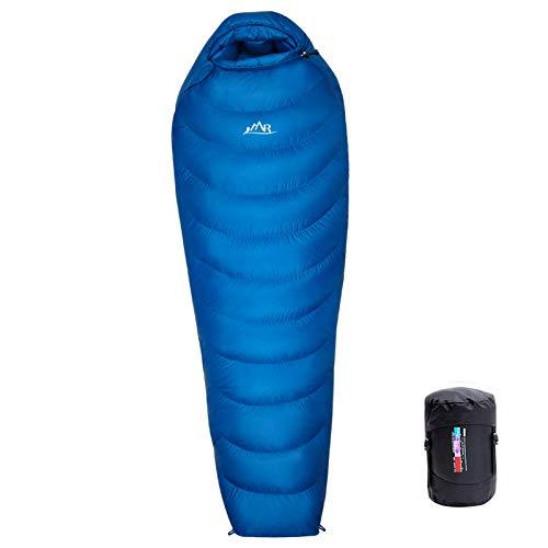 LMR Outdoor Daunenschlafsäcke Professionelle Ente runter 1000g Füllung Ultralight Mumienschlafsack für Camping mit Kompression Sack Sleeping Bag (HellBlau)