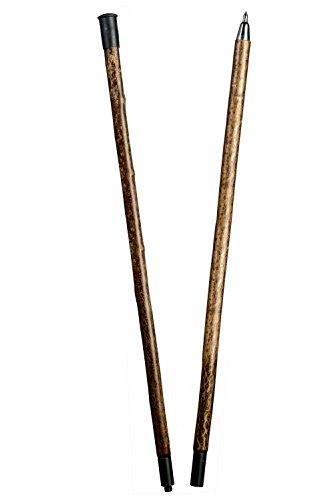 Alpenstange Haselnuss, stabiler Wanderstock aus rindenechtem Haselnussholz, zweigeteilt über Stahlgewinde, inklusiv Stahlspitze als Abschluss.