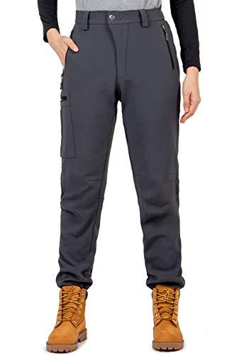 Cycorld Damen Wanderhose-Winter-Outdoorhose, Wasserdicht Skihose Winddicht Warm Gefüttert Thermo Softshellhose (Grau, S)