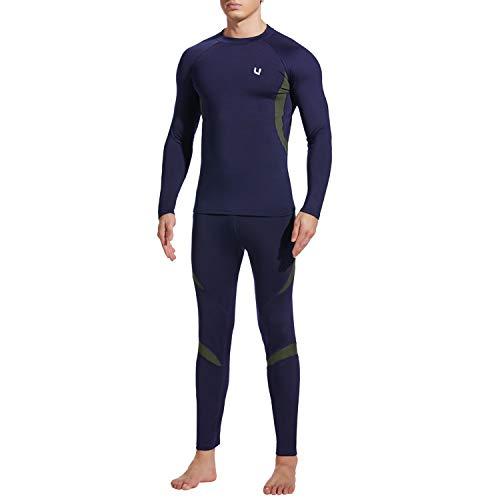 UNIQUEBELLA Thermounterwäsche Set, Funktionswäsche Herren Skiunterwäsche Winter Suit Ski Thermo-Unterwäsche Thermowäsche Unterhemd + Unterhose (Blau, S)