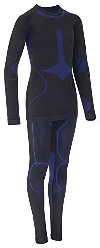 icefeld®: Sport Skiunterwäsche Thermo-Unterwäsche-Set für Kinder Seamless (nahtfrei) in schwarz/blau, 122-128