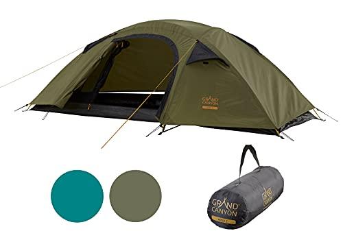 Grand Canyon APEX 1 - Kuppelzelt für 1-2 Personen   Ultra-leicht, wasserdicht, kleines Packmaß   Zelt für Trekking, Camping, Outdoor   Capulet Olive (Grün)