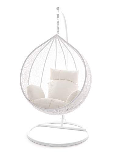 Kideo Swing Chair Hängesessel Hängestuhl Polyrattan Schwebesitz Loungesessel (weiß)