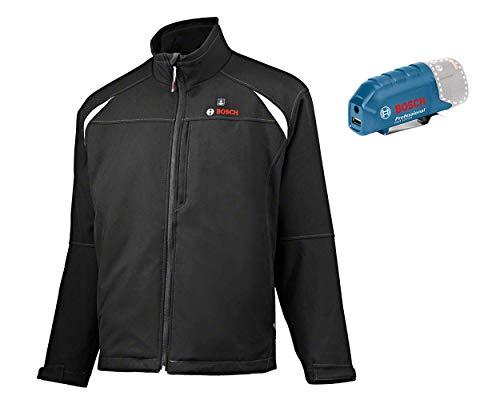 Bosch Professional Beheizbare Jacke GHJ 12+18V Unisex (ohne Akku, 12/18 Volt, Schwarz, Größe 2XL, im Karton)