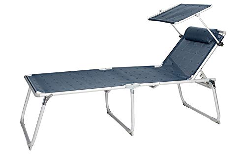 BERGER Aluminium Sonnenliege XL mit Dach 5-Fach verstellbar Campingliege Sonnenliege Liege