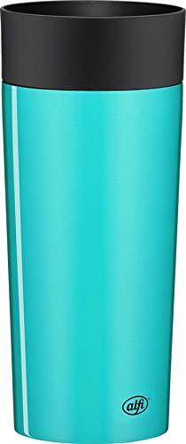 alfi Thermobecher isoMug Plus, Kaffeebecher to go Edelstahl Ocean 350ml, Isolierbecher mit Druckknopf, auslaufsicher, zerlegbarer Verschluss, 5627.258.035 spülmaschinenfest, 4 Stunden heiß, BPA Frei