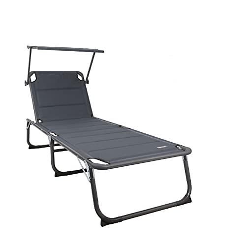 HOMECALL XXL-Sonnenliege aus Aluminium mit Dach und Quick-Dry-Schaum, max. Belastung bis 150kg, Textilene anthrazit, 200 x 70cm