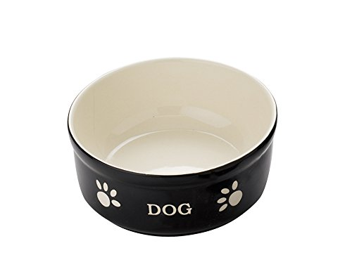 Nobby Hunde Keramiknapf 'DOG' schwarz / beige 15,5 X 15,5 X 6,5 cm
