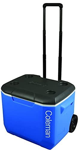 Coleman passive Kühlbox 60Qt Performance, mit 2 Rollen und Teleskopgriff, kühlt bis zu 4 Tage, Thermobox mit 56L Fassungsvermögen, mobile passiv Kühlbox