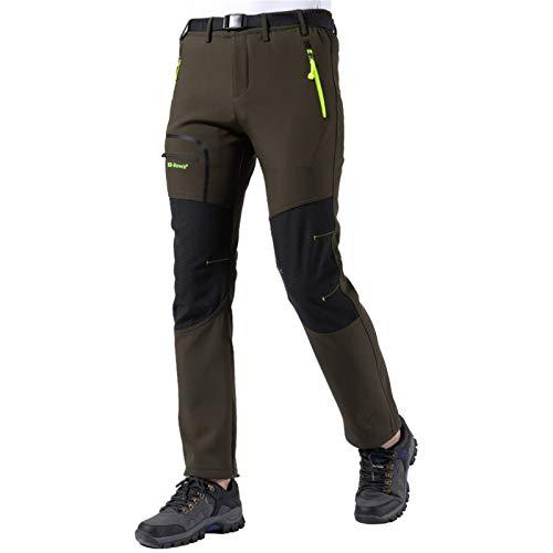 Herren Wanderhose Outdoorhose Trekkinghose Softshellhose Skihose Wasserdicht Winddicht Atmungsaktiv Zip Off Funktionshose (Armee grün, Small)