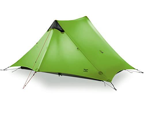 MIER Ultraleichtes Zelt 3-Season Rucksackpackung Zelt für 1 Person oder 2 Personen Camping, Trekking, Kajak, Klettern, Wandern (ohne Trekkingstange), Unisex, Green, 2-Person