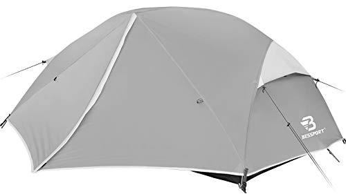 Bessport Zelt 2 Personen Camping Zelt, 2 Türen Ultraleicht Zelte Winddicht &Wasserdicht, 3-4 Saison, Kuppelzelt Einrichtung Einfach für Trekking, Festival, Camping, Rucksack, Familien, Outdoor