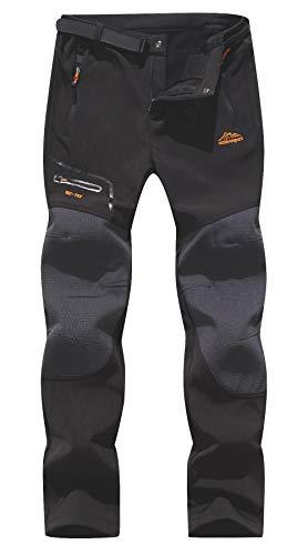 BenBoy Herren Wanderhose Wasserdicht Softshellhose Outdoorhose Winddicht Warm Gefüttert Skihose Snowboardhose Winter Trekkinghose,KZ1672M-Black1-L