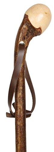 Gehstock Wanderstock Wurzelknauf HASELNUSS, edler Knaufstock aus europäischem Haselnussholz, Wurzelseite handpoliert, rindenecht und seidenmatt lackiert, inklusiv Tragschlaufe aus Leder und Bergstockspitze aus Metall., Lagerlängen:100 CM