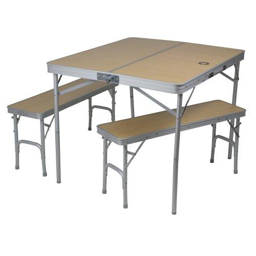 10T Tisch-Bank-Set Portable Bench 4 Mann Alu Campingtisch mit 2 Sitzbänken Picknick Klapptisch Set