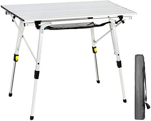 EVER ADVANCED Aluminium Campingtisch klappbar Klapptisch faltbar tragbar leicht Falttisch Tischbein Höheneinstellbar Tischplatte Größe 89.9 x 53cm