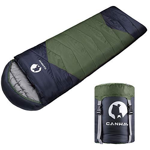CANWAY Schlafsack Sommerschlafsack Schlafsäcke Mumienschlafsack aus Baumwolle als Füllstoff wasserabweisend für Camping Indoor Outdoor Erwachsene 1,9KG (Grün-Polyester)