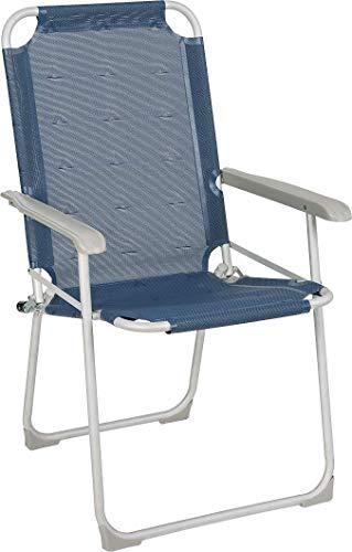 BERGER Klappstuhl Classic, blau, Aluminium, Belastbar bis 100 kg, Sitzhöhe 44 cm, Klappsessel, Campingstuhl