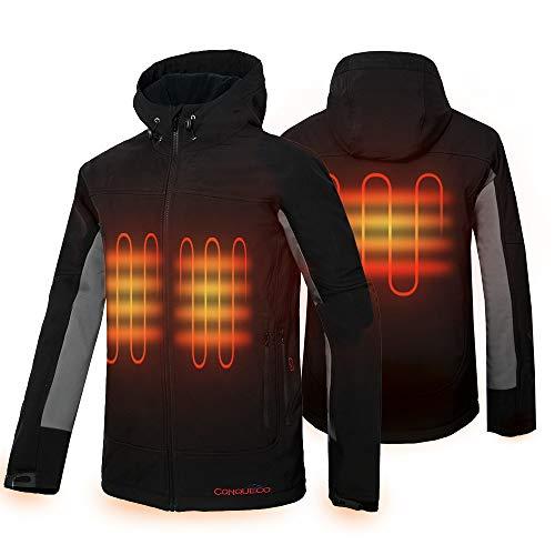 CONQUECO Beheizte Jacken Elektrische Heizjacke Wasserdicht Winddicht beheizbare Jacke für Outdoorarbeiten und Tägliches Tragen