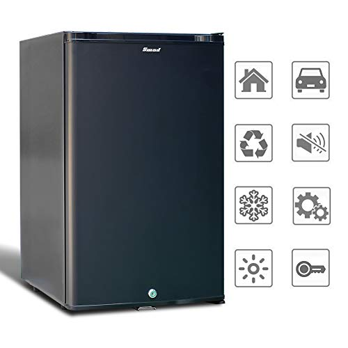 Smad 12V 230V Kühlschrank, Wohnmobil Kühlschrank 50L, Mini Kühlschrank Leise mit Schloss für Auto Camping Büro Schlafsäle, Schwarz