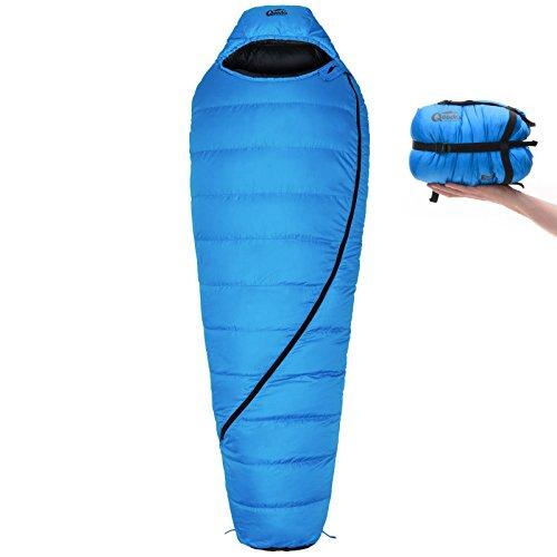 Qeedo Takino Winter Daunen-Schlafsack (2 Größen: M & L) / 0°C Komforttemperatur (4-Saison) / Mumienschlafsack extrem klein & leicht (Gr.M: 1.150g) / inkl. Kompressions- & Aufbewahrungstasche