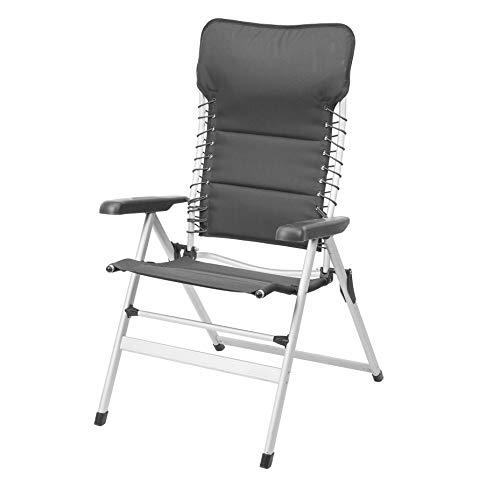 Campart Travel CH-0596 Camping-Stuhl, bis 120 kg belastbar, Gepolstert, Elastikkordel-Schnürung, Dunkelgrau