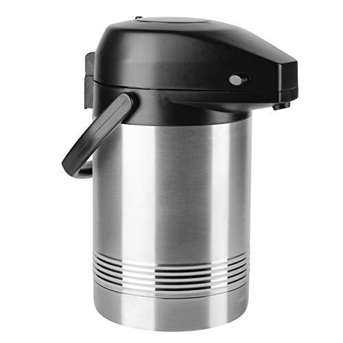 Emsa 637201600 President Pump-Isolierkanne | 2 Liter | 12 h heiß | abnehmbarer Pumpkopf | Edelstahl/Schwarz