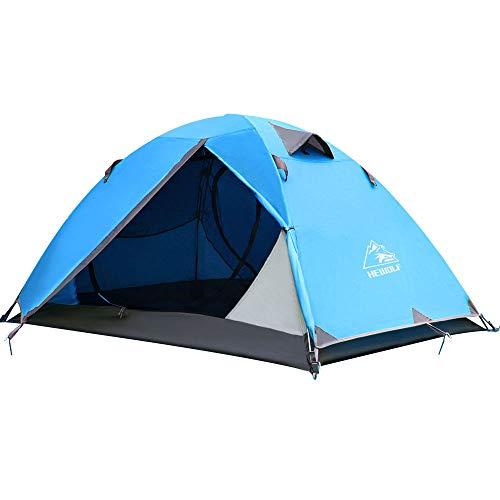 HEWOLF Zelt 2 Personen Rucksack-Zelt kuppelzelt für 2 Personen wasserdichte Doppellagige und Leichte Zelt 3-4 Saison für Camping, Klettern, Angeln, Survival, oder Festival