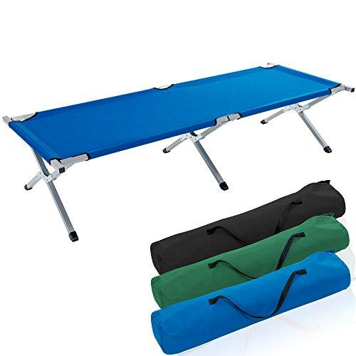 TRESKO XXL Campingbett Feldbett 190 x 64 x 44 cm Metallrohr - Belastbarkeit bis 150kg - in Verschiedenen Farben (Blau)