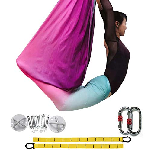 DASKING Premium Aerial Yoga Hängematte Kit Flying Yoga Silk Kit (Multicolor-G)