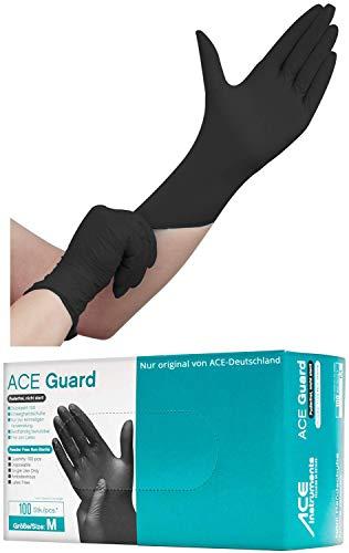 100 Stück schwarze Nitril Einweghandschuhe EN455 - puderfreie und unsterile Kochhandschuhe Tätowierhandschuhe Tattoo Handschuhe, Größe: L
