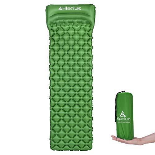 Hikenture Unisex Adult hiken-1 Kleines Packmaß Ultraleichte Aufblasbare Isomatte-Sleeping Pad für Camping, Reise, Outdoor, Wandern, Strand (Grün), Kissen, 1