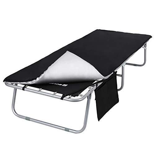 SONGMICS Campingbett, klappbar, Feldbett, Reisen, Outdoor, Gästebett, mit Matratzeund Seitentasche, max. statische Belastbarkeit 260 kg, 200 x 74 x 39 cm, schwarz-silbern GCB20HV1