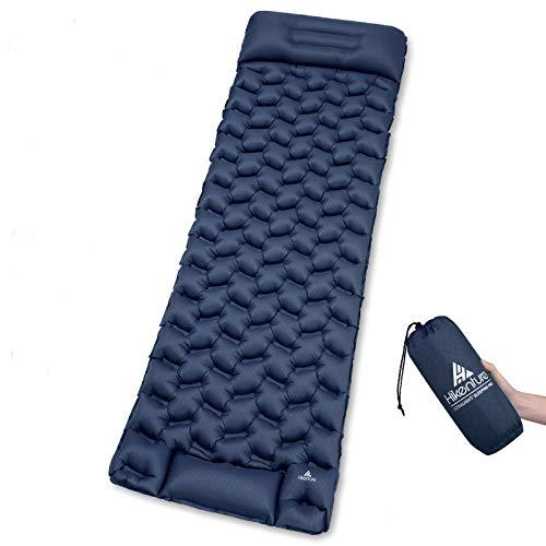 HIKENTURE Isomatte Camping Aufblasbar mit Kissen, Strapazierfähige Luftmatratze Kleines Packmaß, Ultraleichte Schlafmatte, Ideales Camping Zubehör für Outdoor, Wandern, Trekking- Blau mit Pume