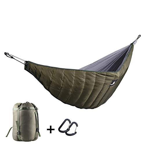 uyoyous Schlafsack Hängematte, für Hängematten Aufhängung leichte Winterschlafsack, Verdickt Winddicht, mit tragbarem Packsack, für Camping, Backpacking, Hinterhof Outdoor-Schlaf-Getriebe - Grün