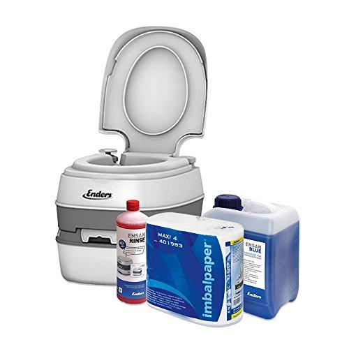Enders Campingtoilette Starter-Set Blue 2,5 Liter Comfort 4945 inkl. Sanitärflüssigkeit und WC Papier - Mobile Chemietoilette Campingklo Camping-Toilette