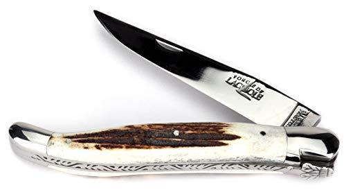 Forge De Laguiole Taschenmesser - 12 cm - Griff Hirschhorn - Klinge 10 cm glänzend - Backen glänzend