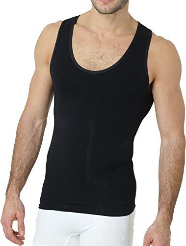 UnsichtBra Shapewear Unterhemd Herren   Body Shaper Funktionsshirt Herren   Bauchweg Kompressionsshirt Herren Weiss o. schwarz (sw_7100)(XL, Schwarz)