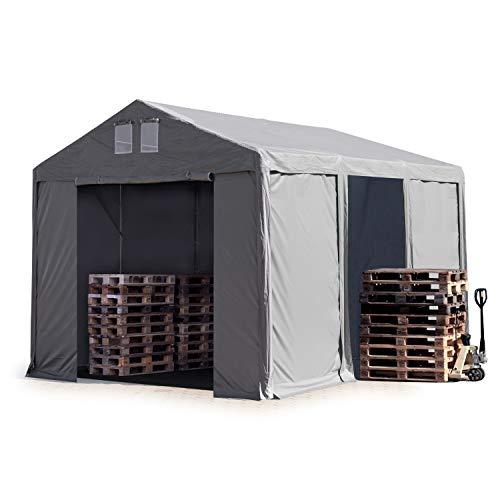 TOOLPORT Lagerzelt Industriezelt 4x6 m Zelthalle mit 3m Seitenhöhe in grau ca. 550g/m² PVC Plane 100% Wasserdicht Ganzjahreszelt mit Reißverschlusstor