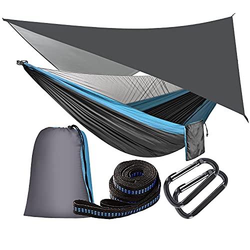 OTraki Hängematte mit Moskitonetz und Zeltplane Reise Camping Hängematte Outdoor Hammock 200kg Last Kapazität Ultraleichte Atmungsaktiv für Outdoor, Wandern, Reisen Blau (290cm x 140cm)