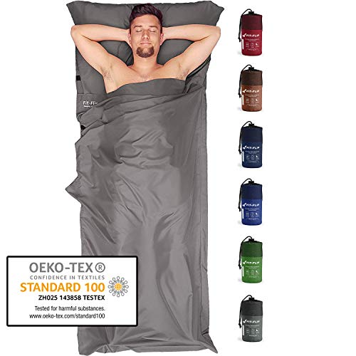 Fit-Flip Hüttenschlafsack Ultraleicht, Mikrofaser Schlafsack Inlay mit extra Kissenfach, Inlett Schlafsack seidig weich, Reiseschlafsack als auch Innenschlafsack, Stahlgrau