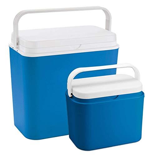 Linder - Kühlbox Set in groß (24 Liter) und klein (10 Liter) - passiv große und kleine Kühltasche für unterwegs ohne Storm oder Kühlakku - perfekt für Grillen, Festival oder im Auto