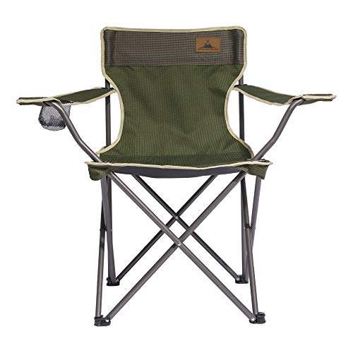 WANDERFALKE Campingstuhl/Faltstuhl Herbstgrün (Größe M) - mit Getränkehalter & Rückentasche