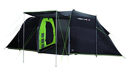 High Peak VIS-A-VIS Tunnelzelt Tauris 4, 4 Personen Campingzelt mit Stauraum und Zeltboden, großes Festivalzelt mit Stehhöhe, Familienzelt mit 2 Schlafkabinen, doppelwandig, 4.000 mm wasserdicht